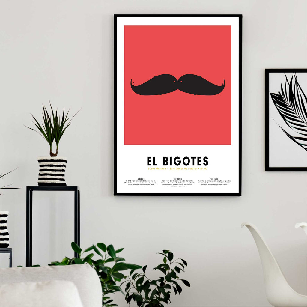 Minimalist art print of El Bigotes Restaurant Ibiza, graphic design of two fish together as a moustache framed in living space