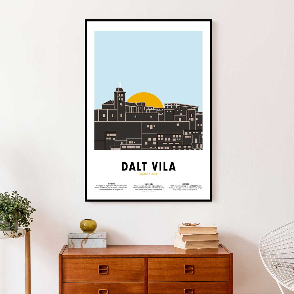 Framed minimal style graphic design of Dalt Vila Ibiza