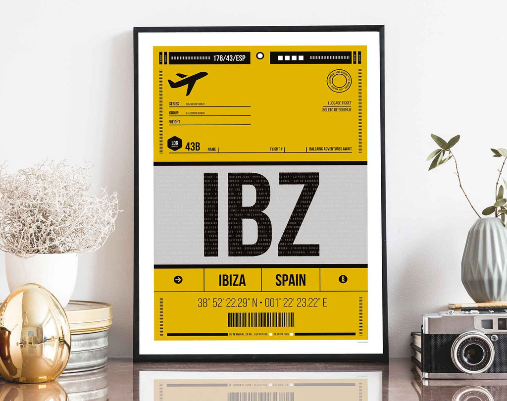 Framed graphic design giclée art print of Ibiza luggage tag in living space