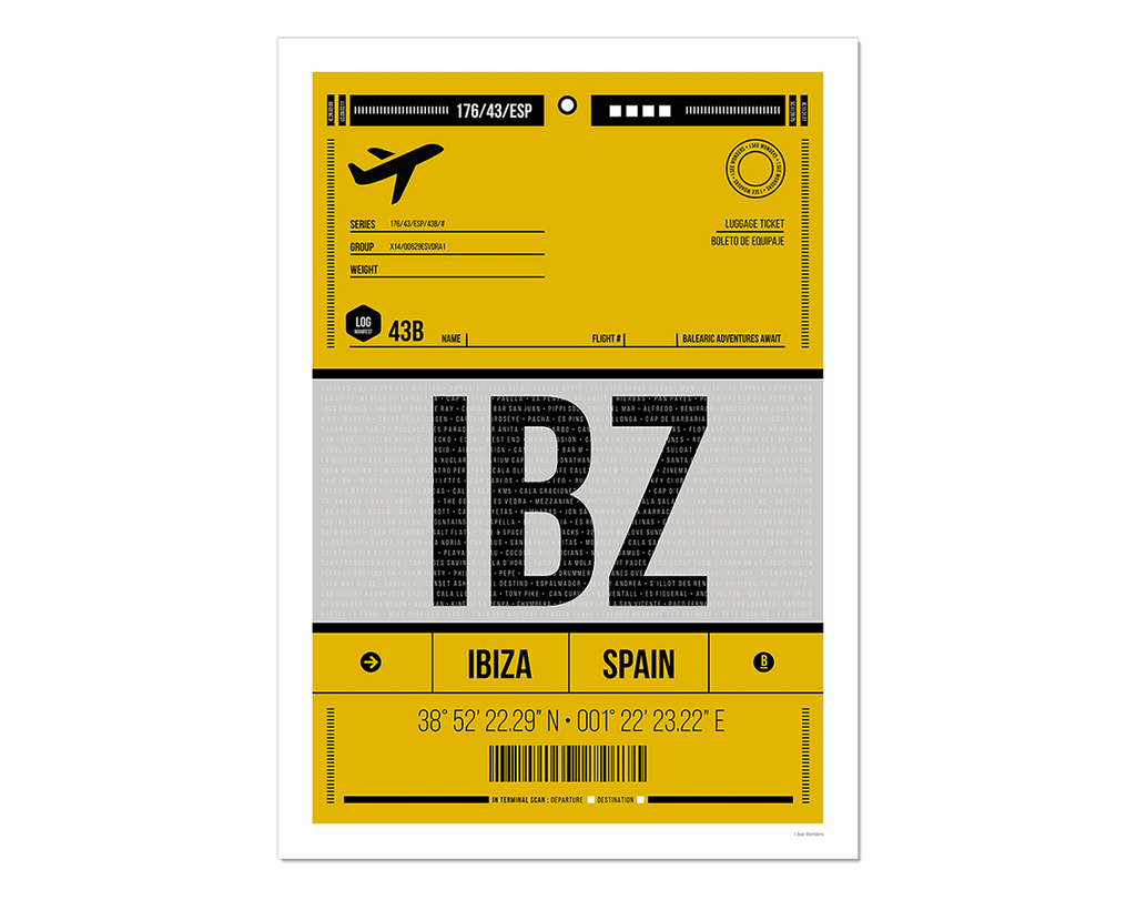 Graphic design giclée art print of Ibiza luggage tag