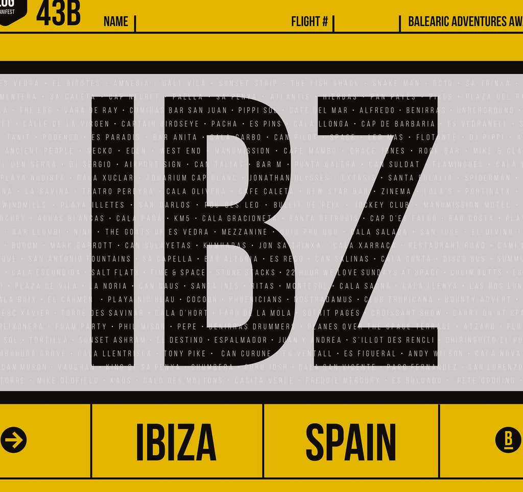 Close up of graphic design giclée art print of Ibiza luggage tag