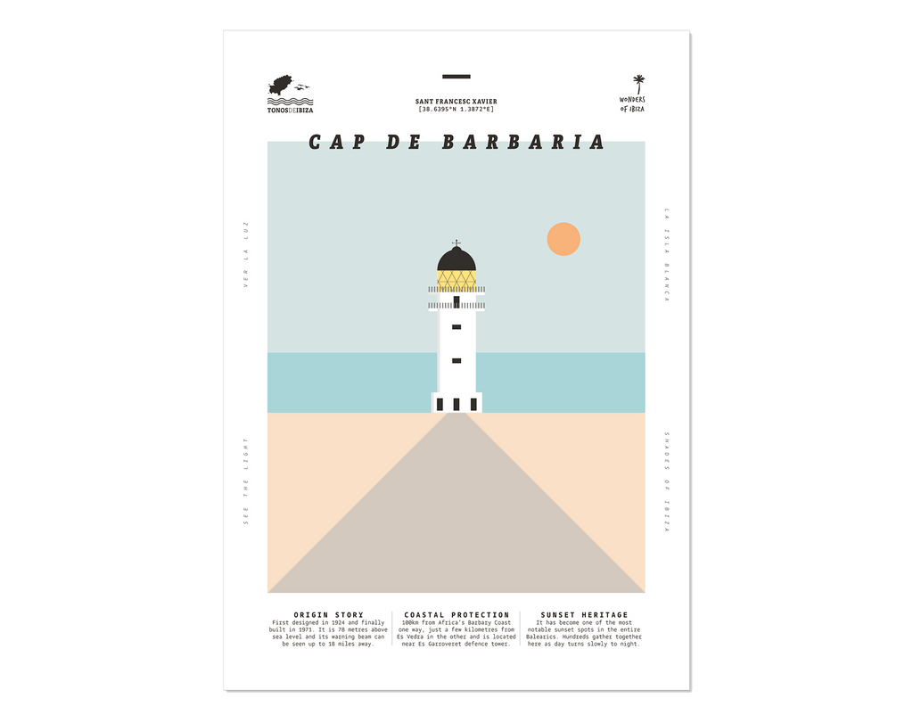 Minimal style graphic design print of Cap de Barbaria lighthouse, Formentera, Ibiza.