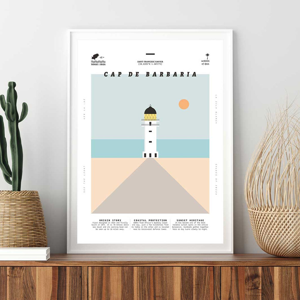 Framed minimal style graphic design print of Cap de Barbaria lighthouse, Formentera, Ibiza.