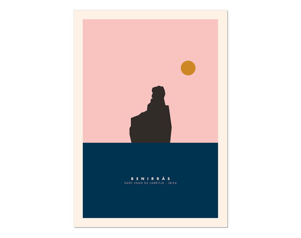 Minimal style graphic design print of Benirras, Ibiza.