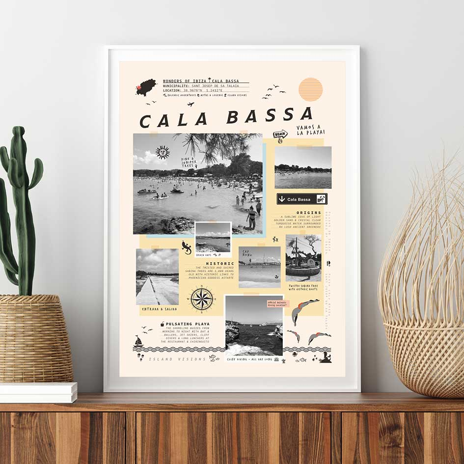 Framed art print of photos, notes & memories of Cala Bassa beach, Ibiza