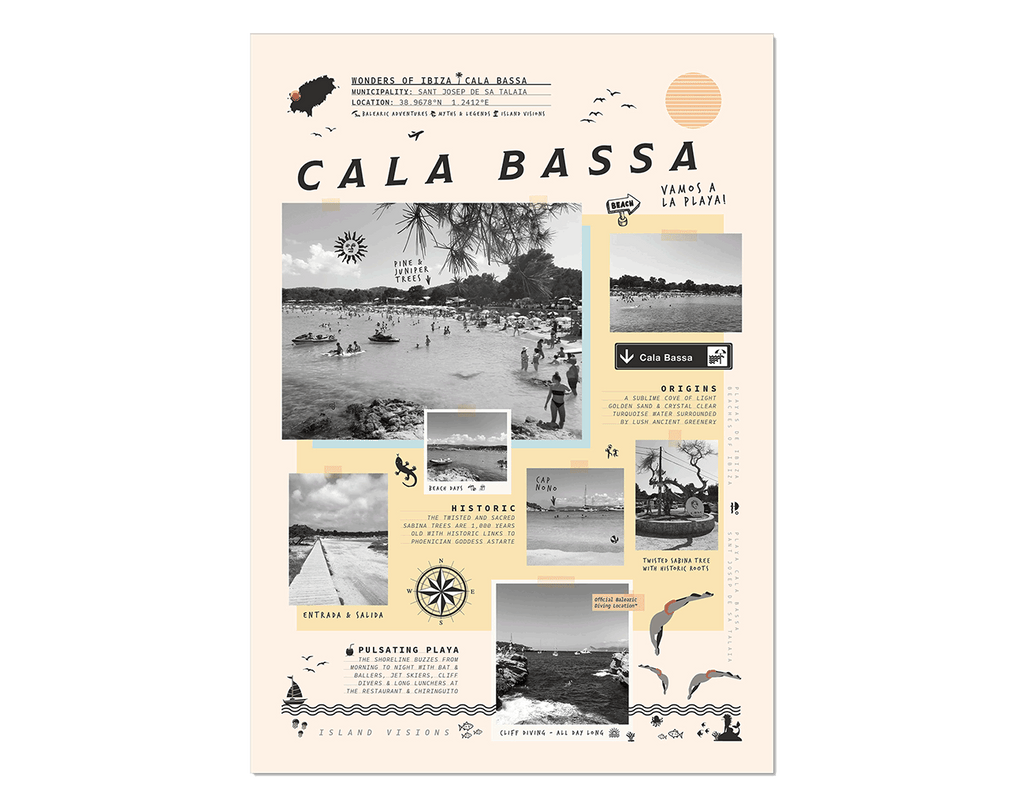 Art print of photos, notes & memories of Cala Bassa beach, Ibiza