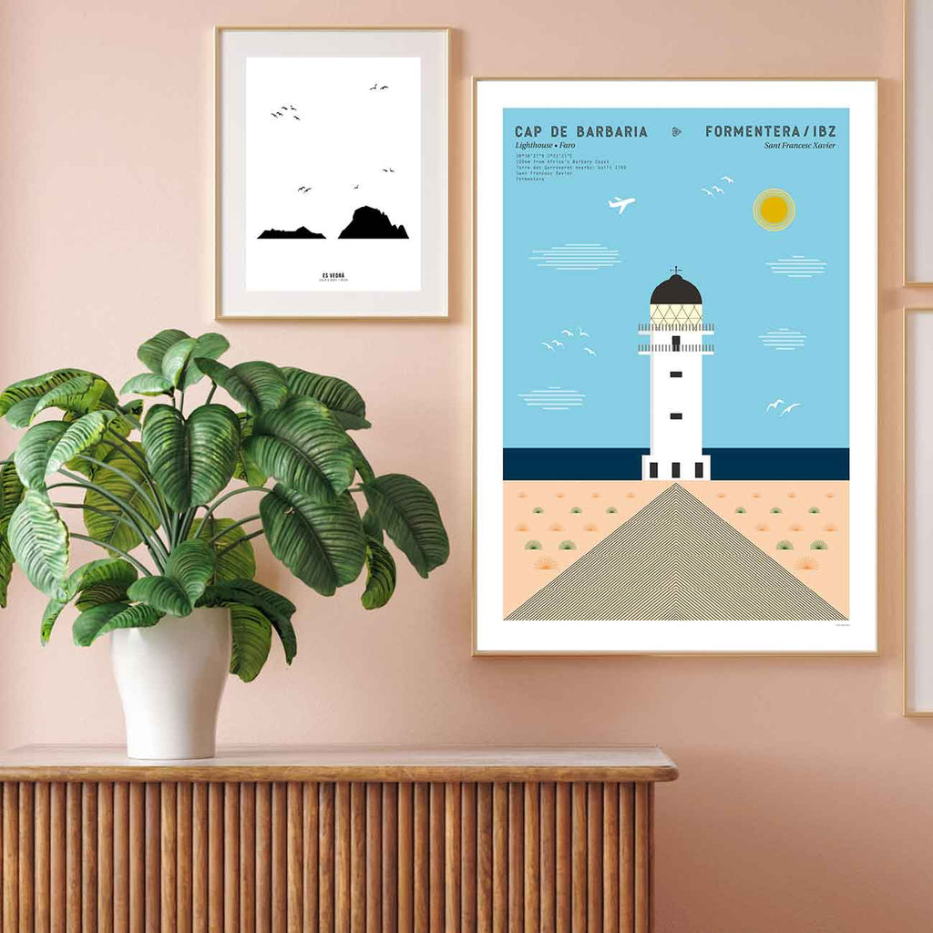 Framed graphic design giclée art print of Cap de Barbaria lighthouse in Formentera, Ibiza,