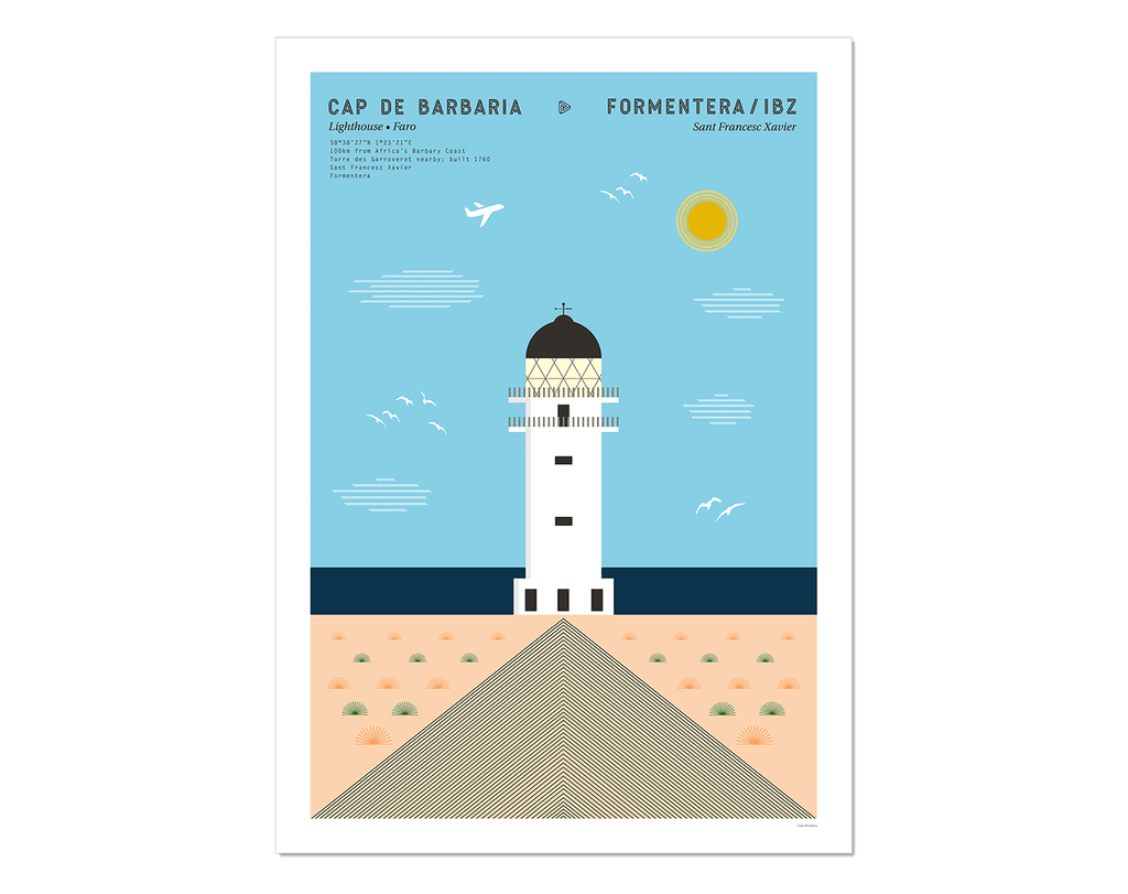 Graphic design giclée art print of Cap de Barbaria lighthouse in Formentera, Ibiza,