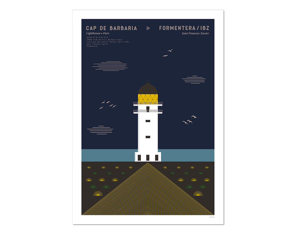 Graphic design giclée art print of Cap de Barbaria lighthouse in Formentera, Ibiza at twilight..