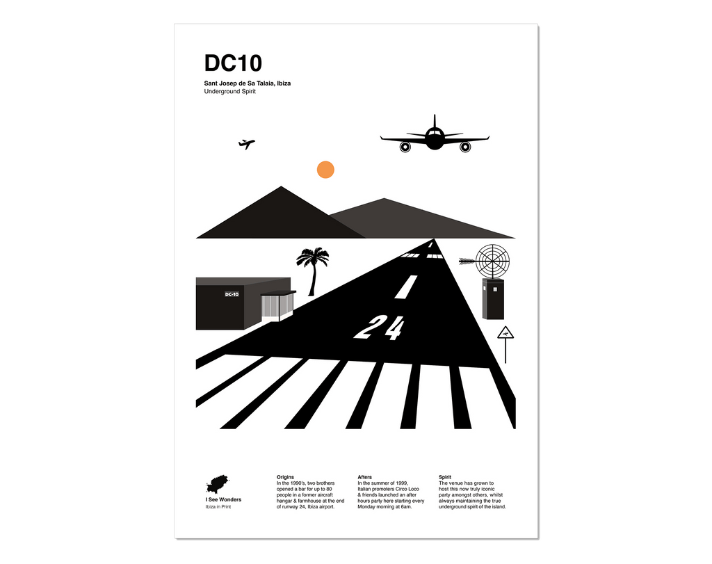 Black and white minimal style print of club DC10, Ibiza.