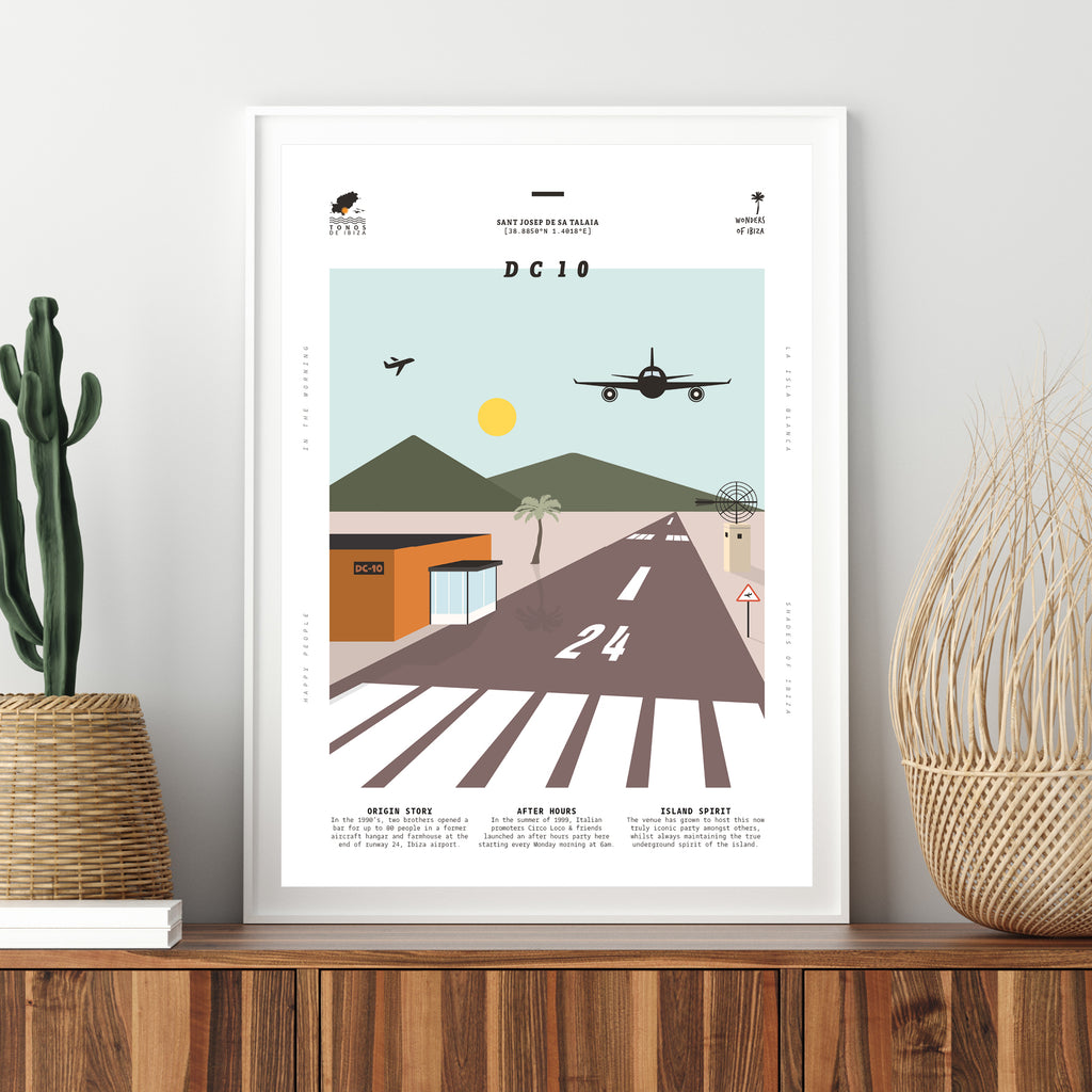 Framed minimal style graphic design print of club DC10, Ibiza.