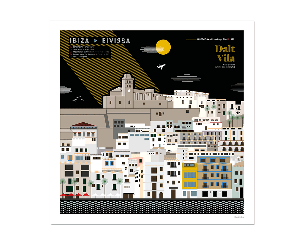 Graphic design giclée art print of Dalt Vila, Ibiza.