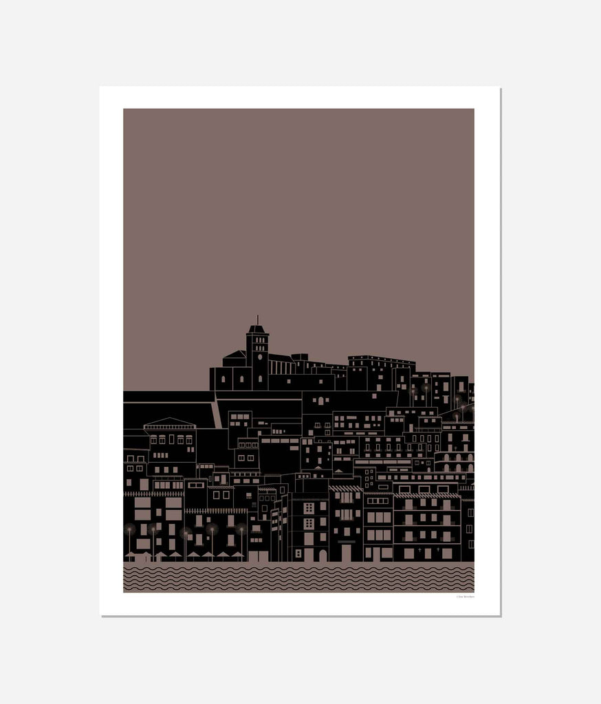 Graphic design giclée art print of Dalt Vila, Ibiza at night.