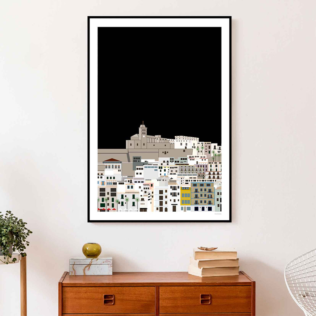 Framed graphic design giclée art print of Dalt Vila, Ibiza in living space
