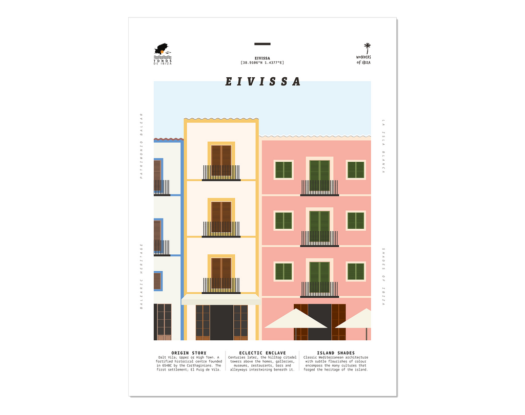 Minimal style graphic design print of the buildings in Eivissa, Ibiza Town.