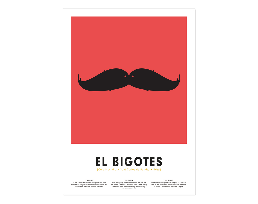 Minimalist art print of El Bigotes Restaurant Ibiza, graphic design of two fish together as a moustache