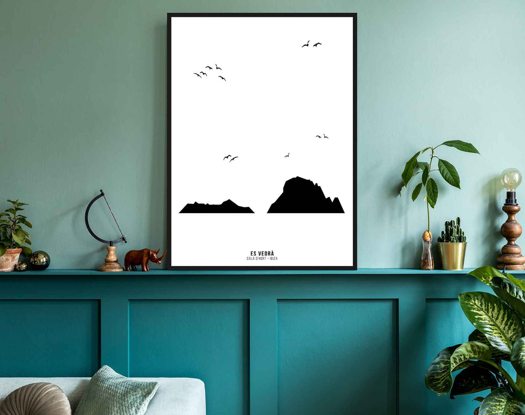 Framed black and white print of Es Vedra, Ibiza