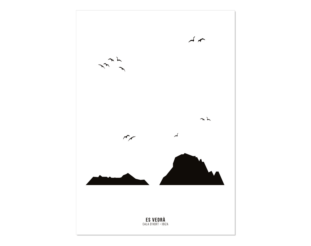 Black and White print of Es Vedra, Ibiza