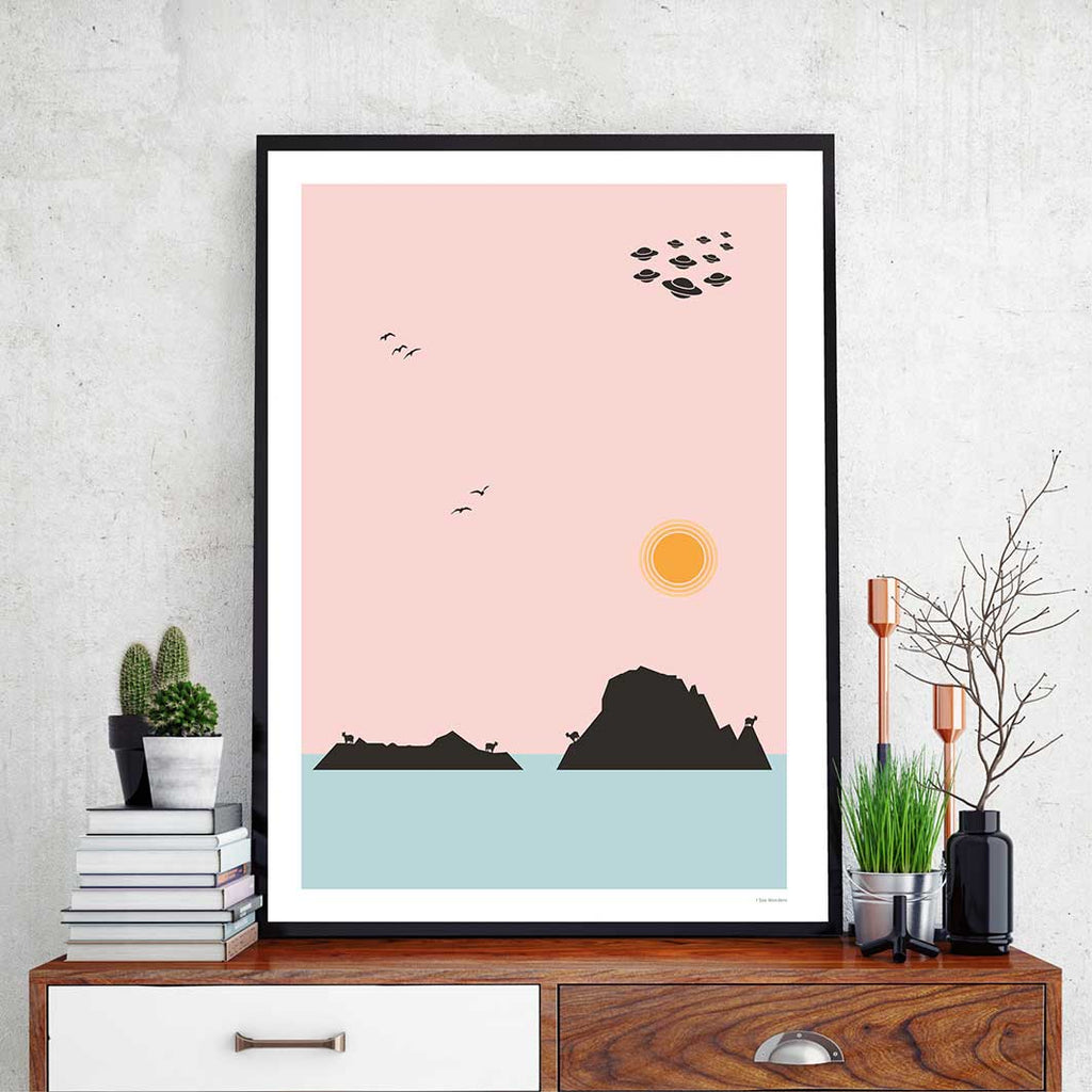 Framed minimal style graphic design print of Es Vedra, Ibiza.
