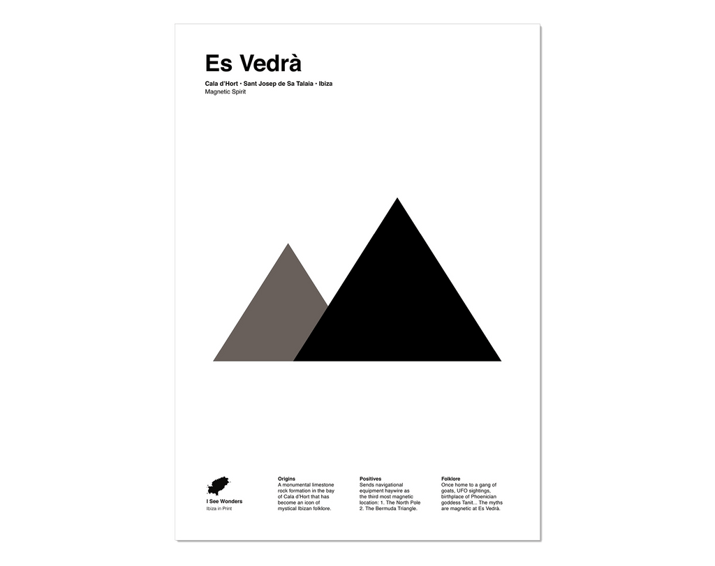 Minimal style graphic design black and white  print of Es Vedra, Ibiza.