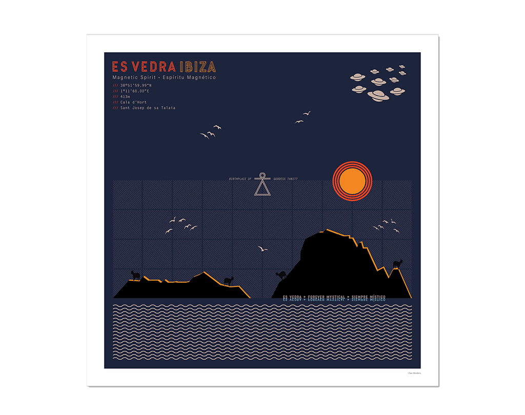 Graphic design giclée art print of Es Vedra, Ibiza at twilight