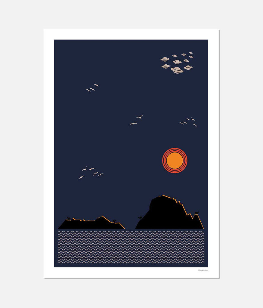 Graphic design art print of Es Vedra Ibiza
