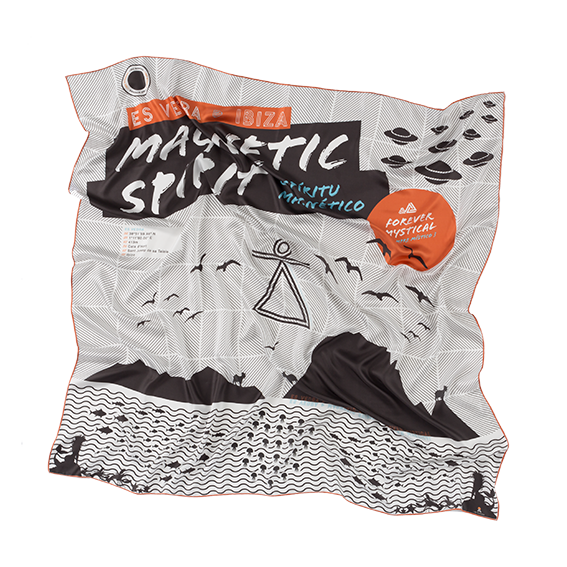Ibiza silk scarf featuring graphic design of Es Vedra, Ibiza.