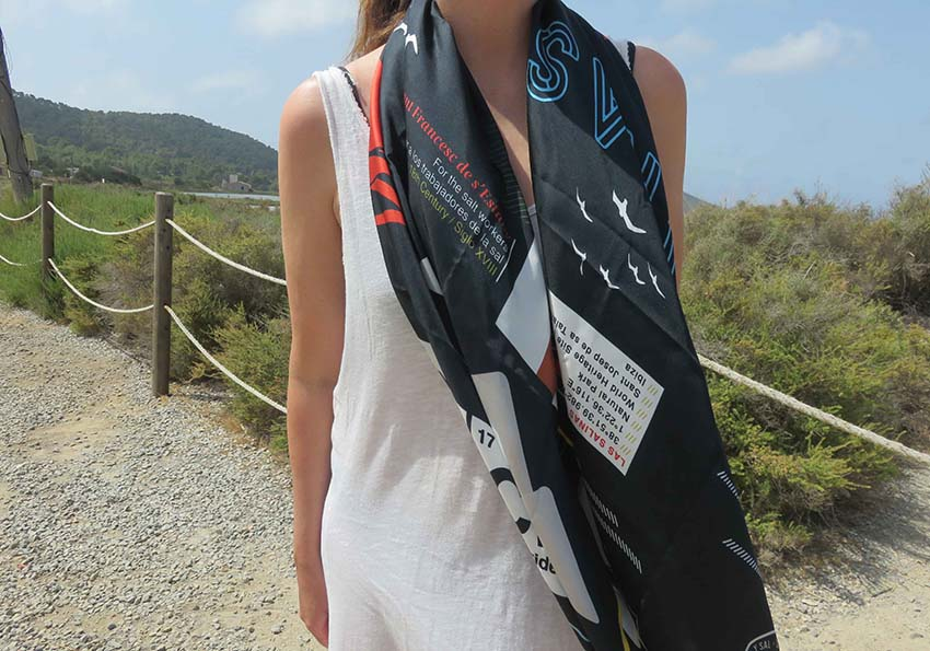 Ibiza silk scarf featuring graphic design of Salinas, Ibiza modelled at Salinas salt flats, Ibiza