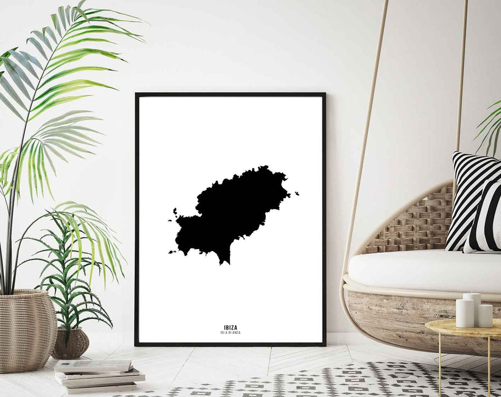 Framed black and white overhead image of the island of Ibiza.