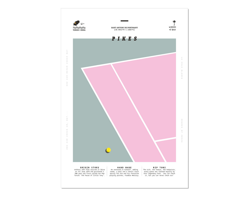Minimal style graphic design print of the tennis court at Pikes, Ibiza.