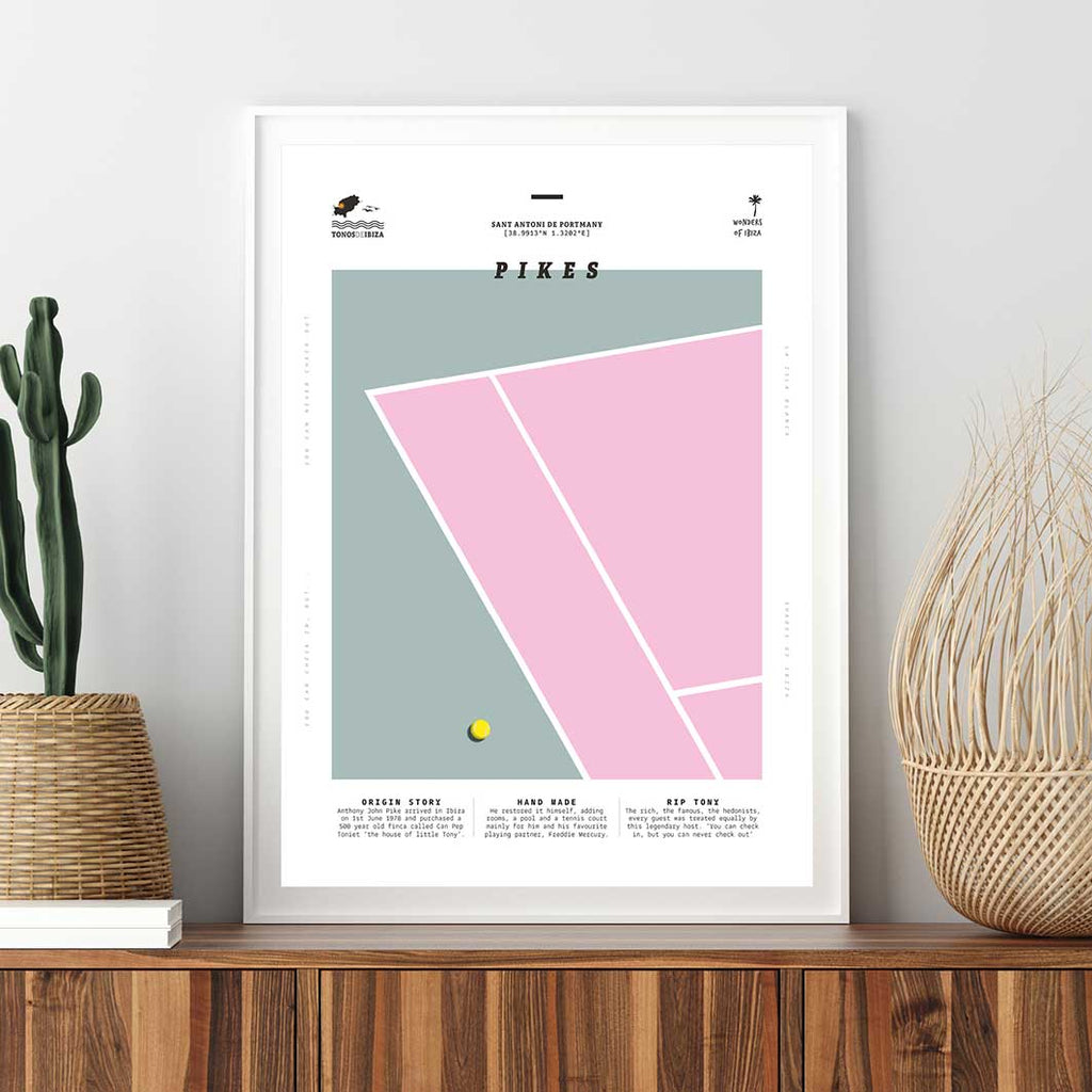 Framed minimal style graphic design print of the tennis court at Pikes, Ibiza.