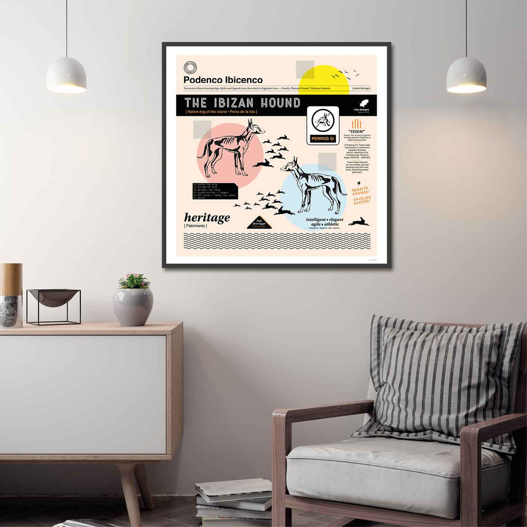 Framed graphic design giclée art print of the Podenco / Ibizan Hound in living space