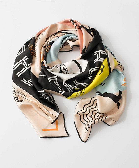 Ibiza silk scarf featuring graphic design of a Podenco / The Ibizan Hound
