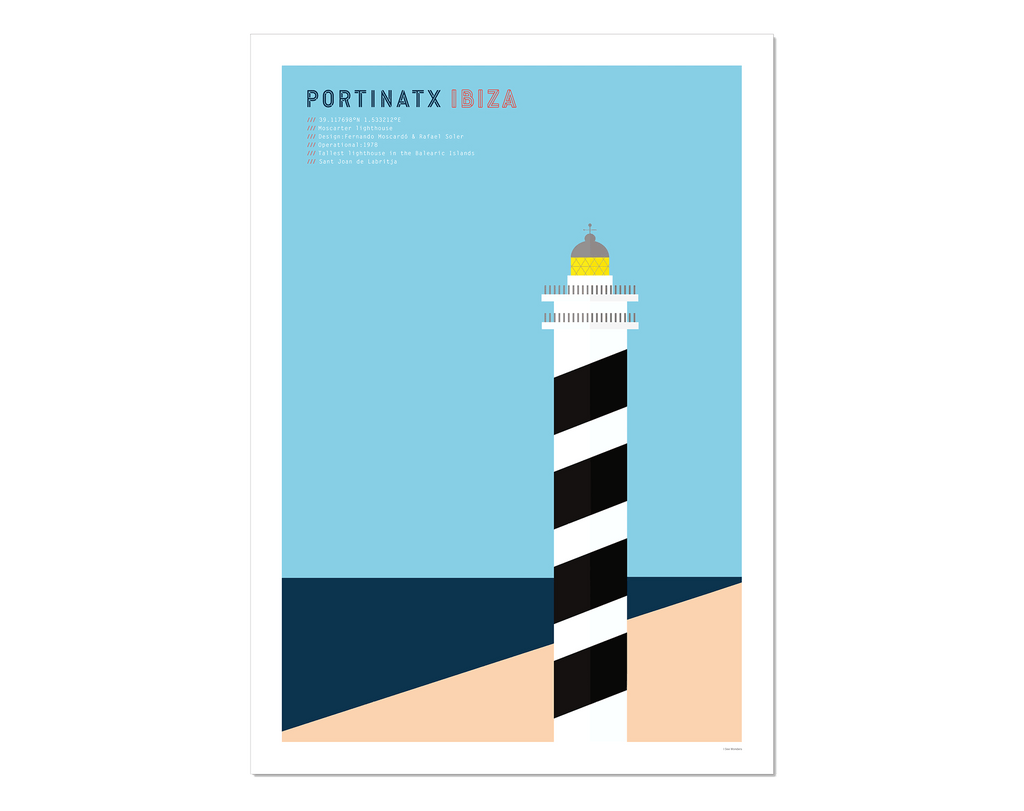 Graphic design giclee art print of Portinatx lighthouse, Ibiza.