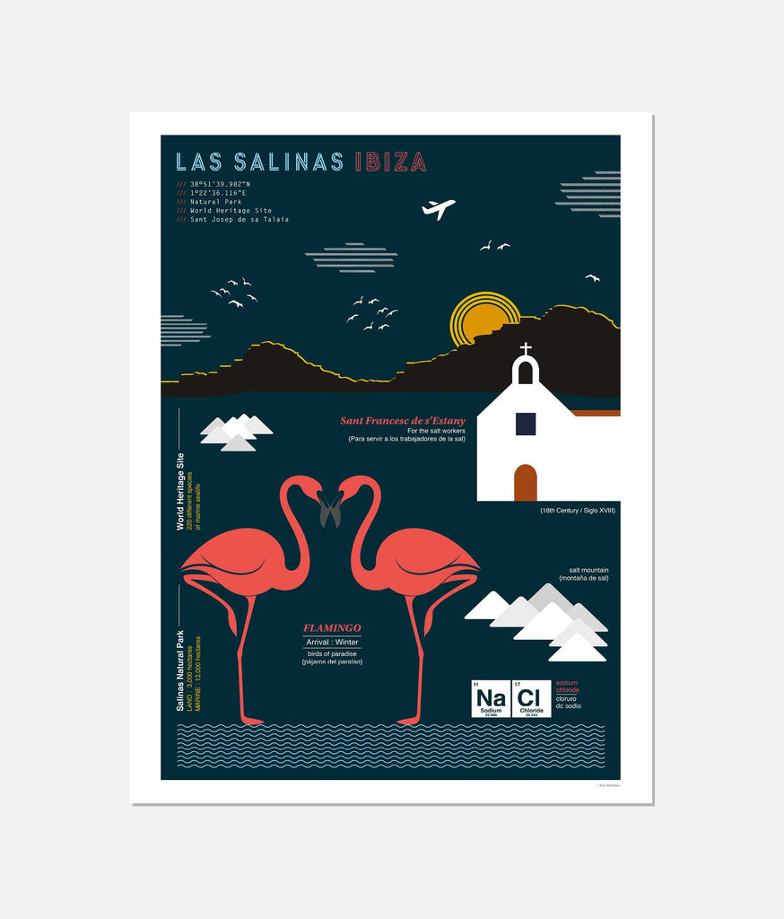 Graphic design giclée art print of Salinas, Ibiza.