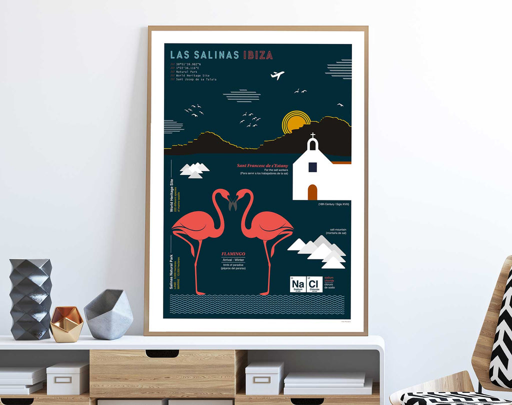 Graphic design framed giclée art print of Salinas, Ibiza in living space