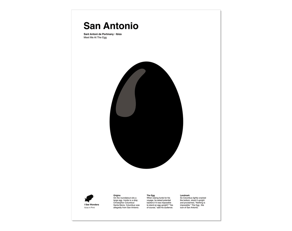 Minimal style graphic design print of The Egg, San Antonio, Ibiza.