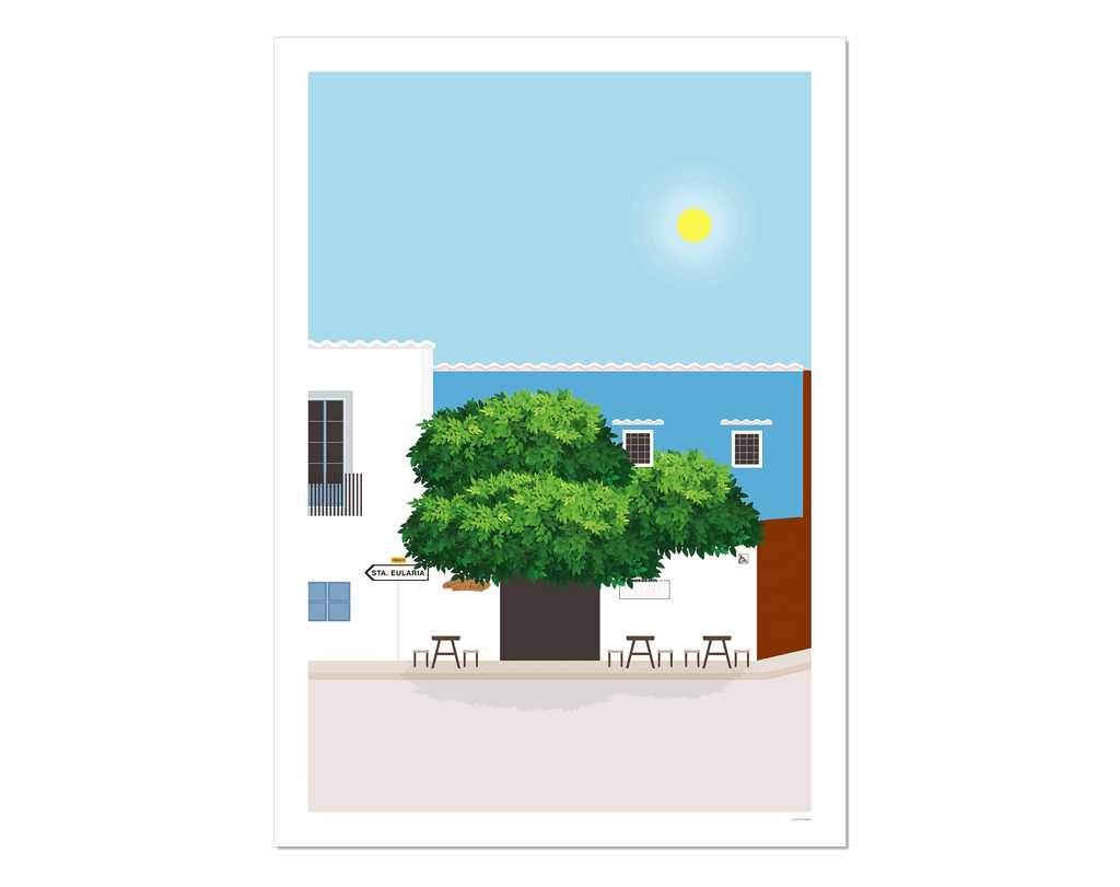 Graphic design giclée art print of San Carlos, Ibiza.