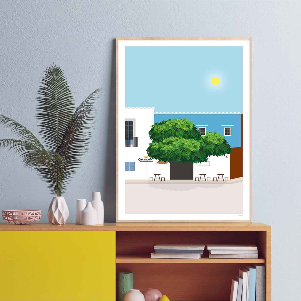Framed graphic design giclée art print of San Carlos, Ibiza.
