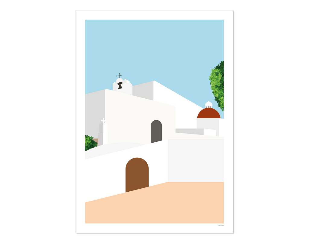 Graphic design giclée art print of Puig de Missa church, Santa Eulalia, Ibiza.