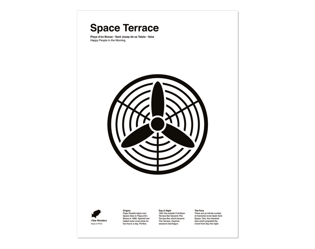 Black and white minimal style print of the fans on the terrace at Space , Ibiza.
