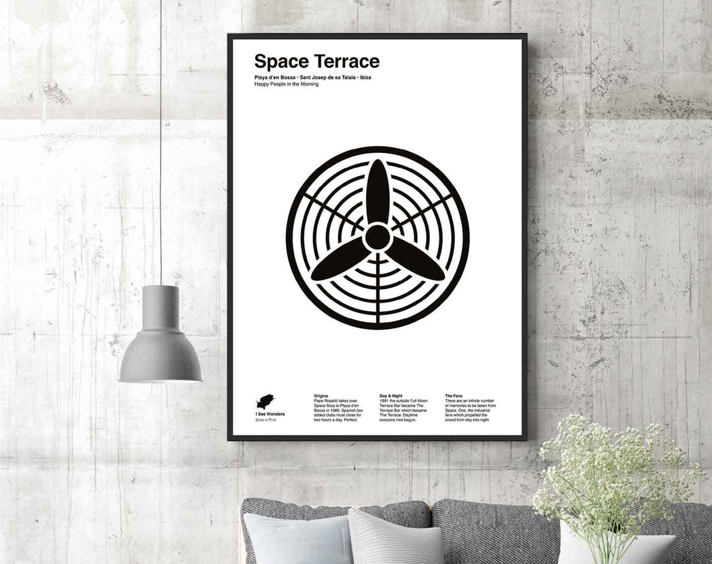 Framed black and white minimal style art print of the fans on the terrace at Space , Ibiza.