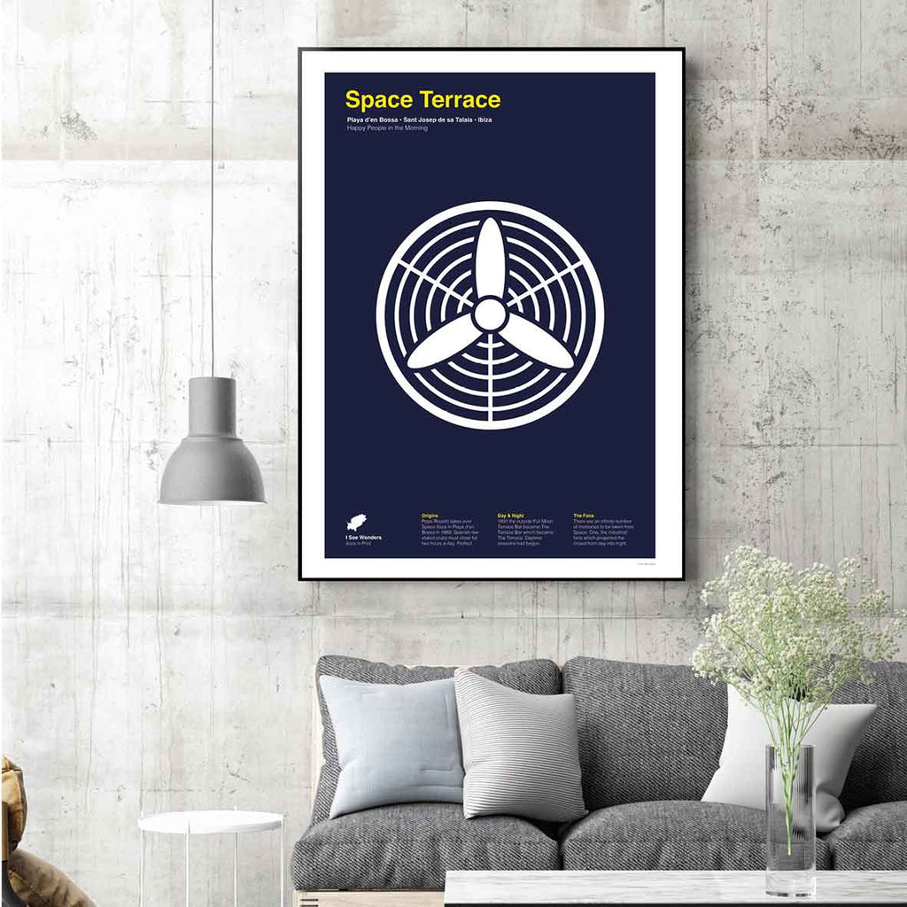 Framed minimal style graphic design print of the fans at Space Terrace, Ibiza.