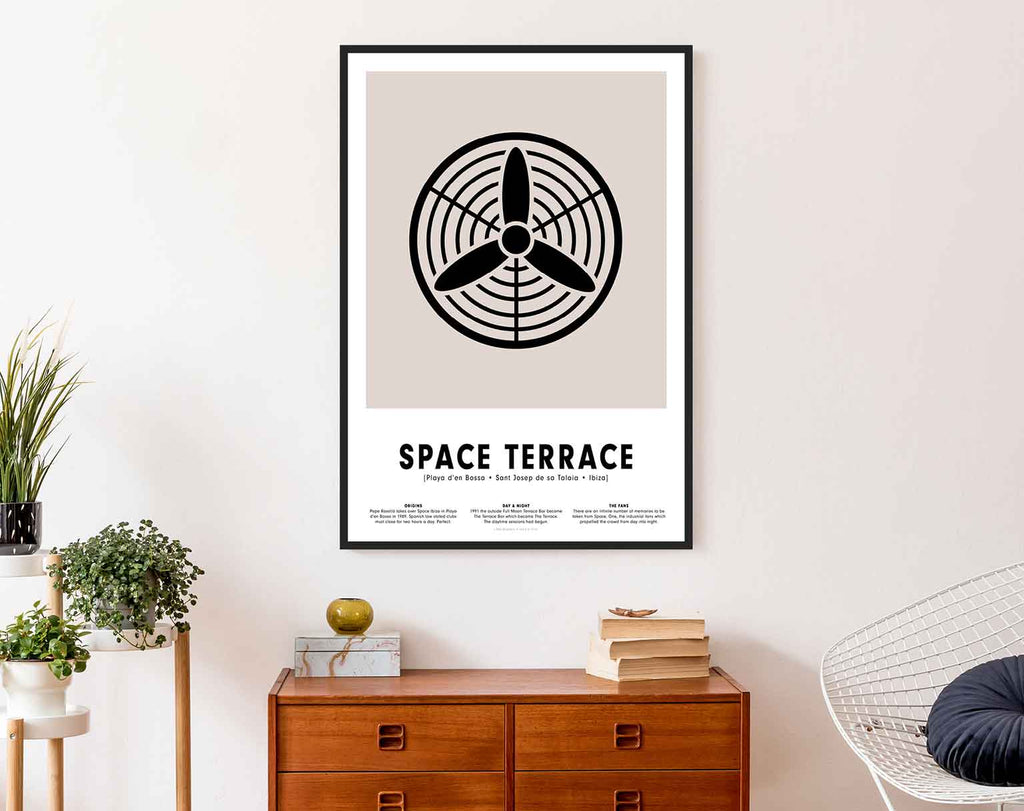 Minimal style graphic design print of the fans at Space Terrace, Ibiza.