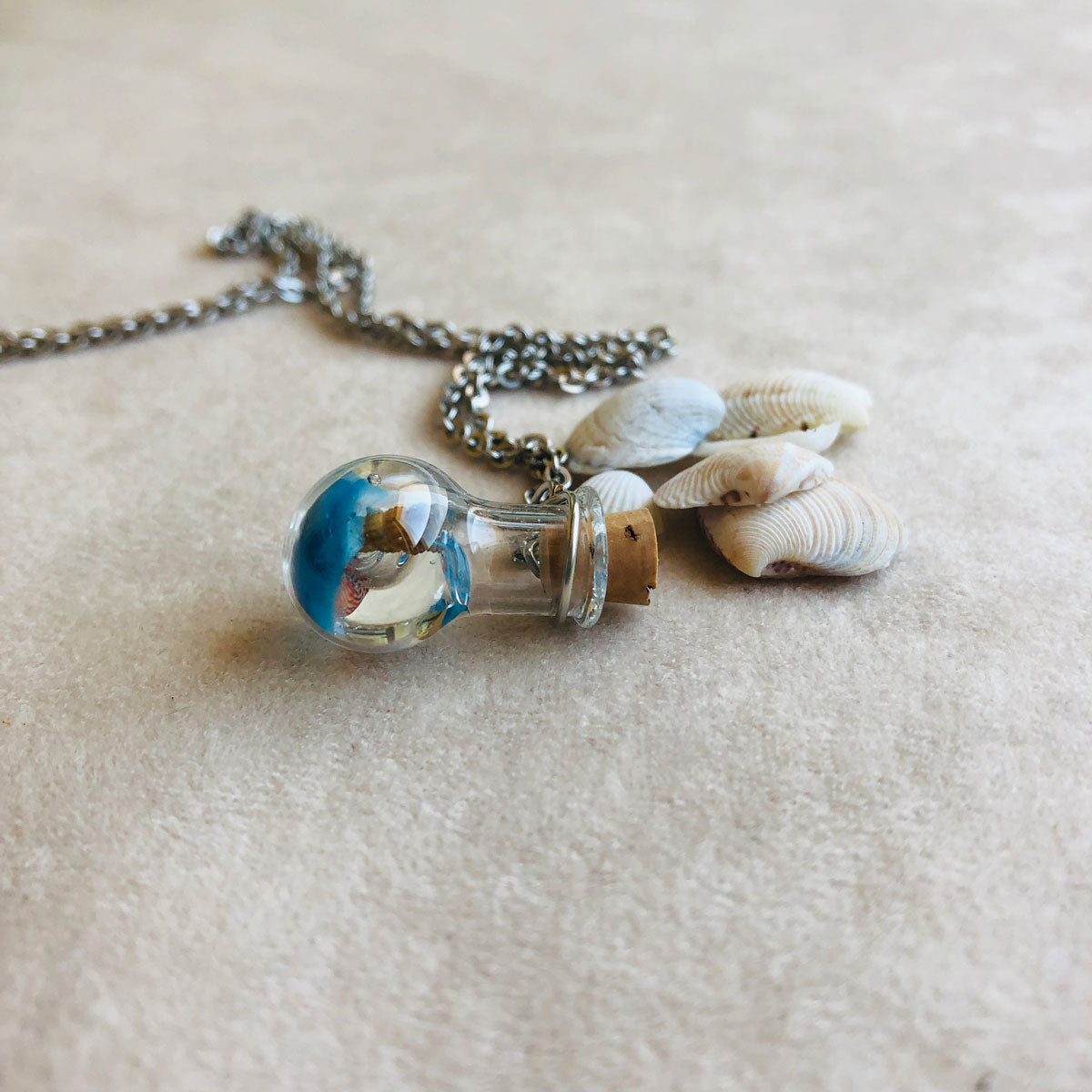 Summer | Sea shells in a light bulb bottle