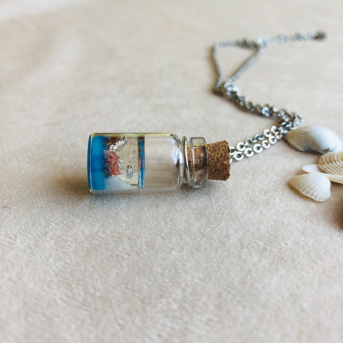 Summer | Glass bottle with sea shells