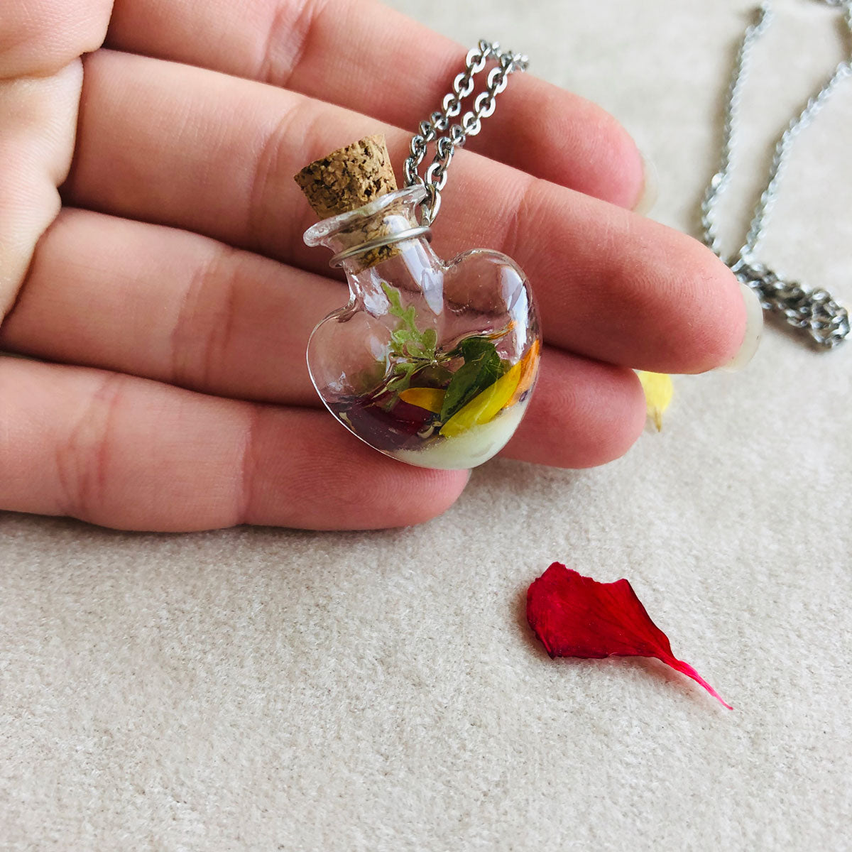 Heart bottle with autumn leaves