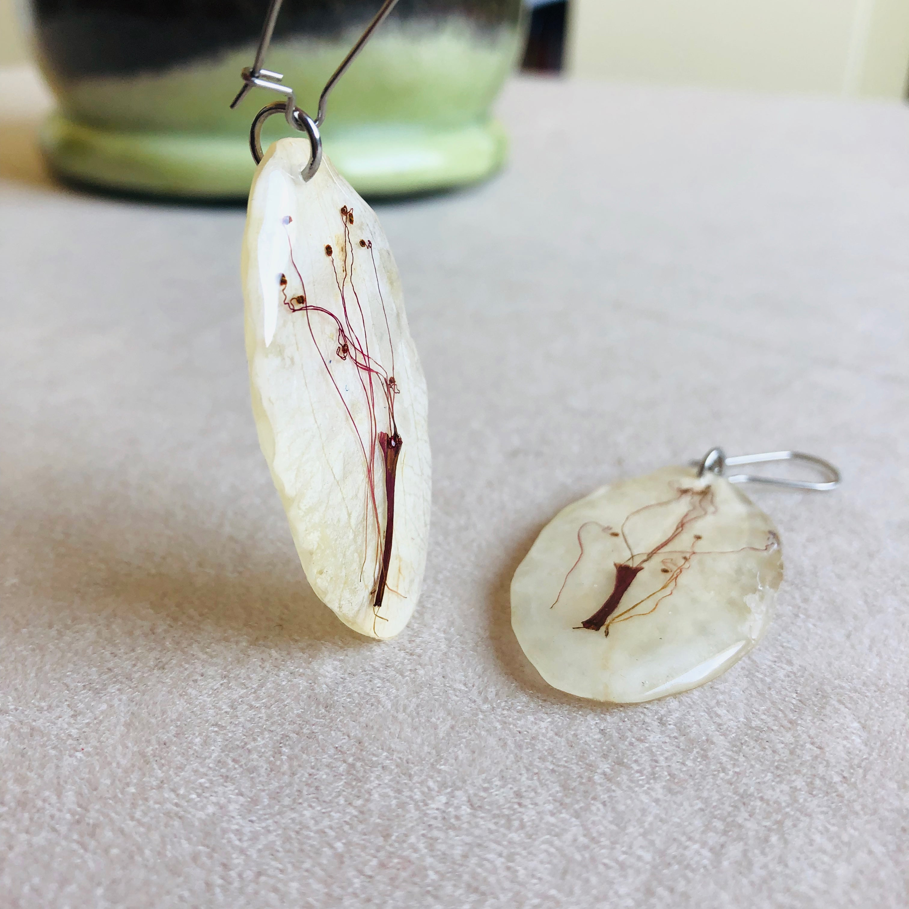White orchid earrings