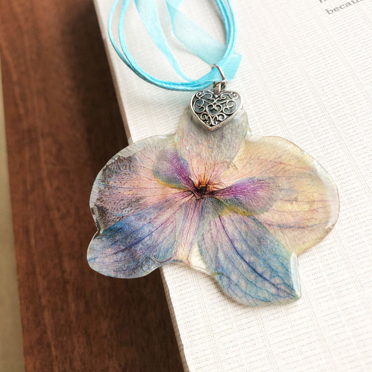 Blue orchid necklace