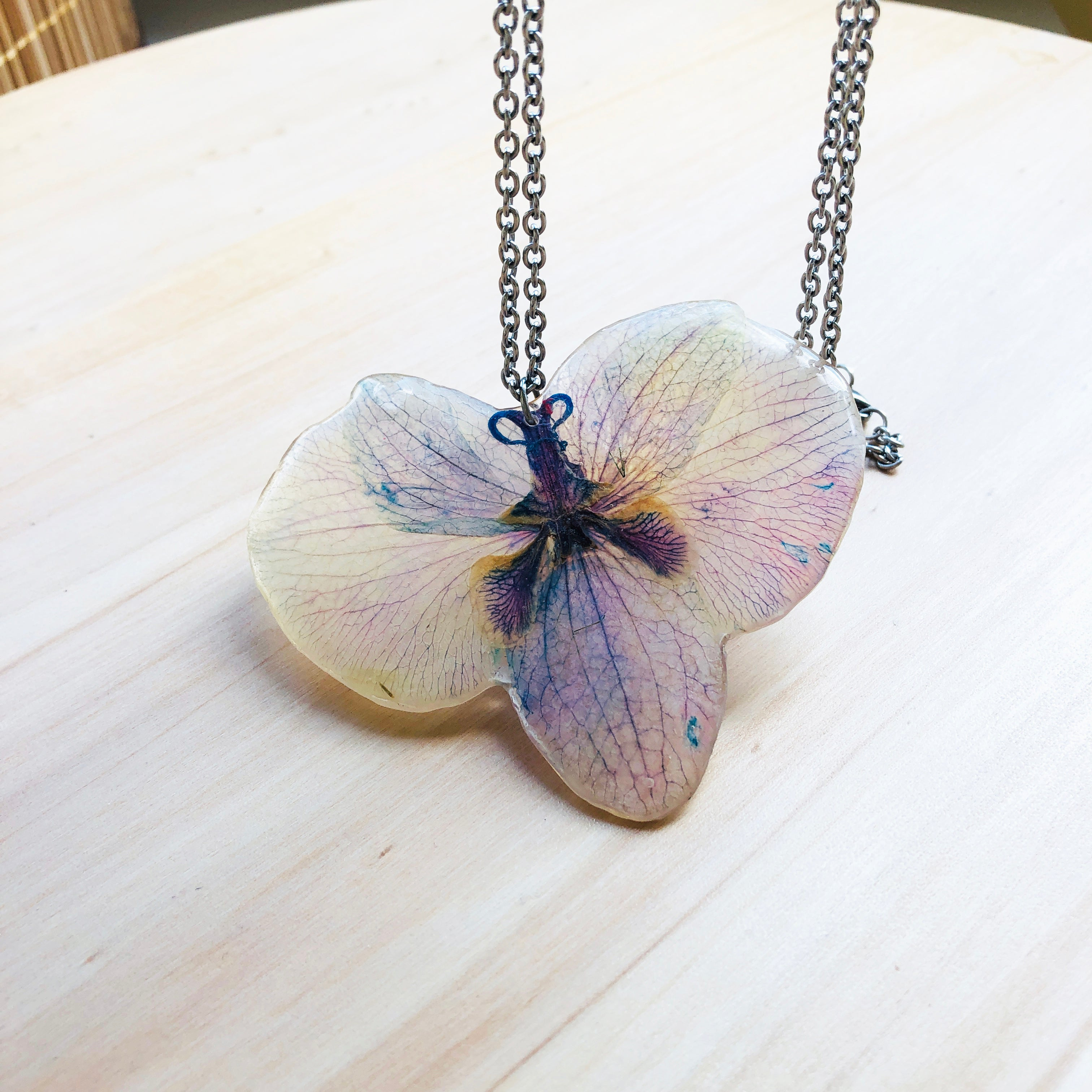 Colorful orchid necklace
